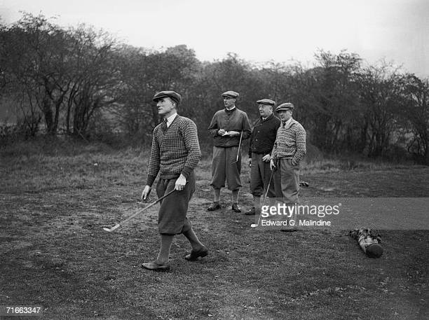 Arsenal players Tom Parker David Jack and Alex James playing golf at Hatch End with manager Herbert Chapman 14th November 1929