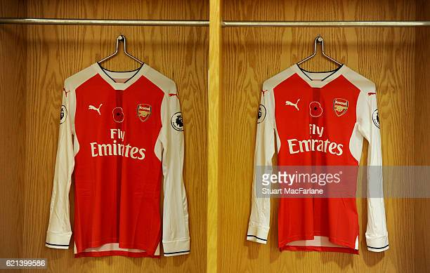 Arsenal poppy shirts in the home changing room before the Premier League match between Arsenal and Tottenham Hotspur at Emirates Stadium on November...