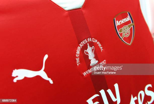 Arsenal shirt in the changing room before the Emirates FA Cup Final between Arsenal and Chelsea at Wembley Stadium on May 27 2017 in London England