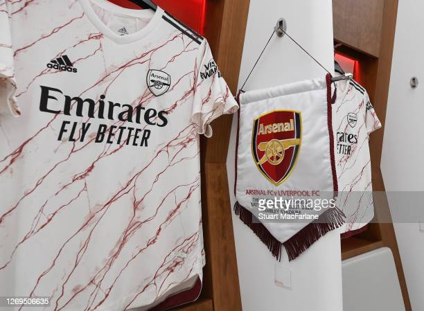 Arsenal shirts and match pennant in the changing room before the FA Community Shield match between Arsenal and Liverpool at Wembley Stadium on August...
