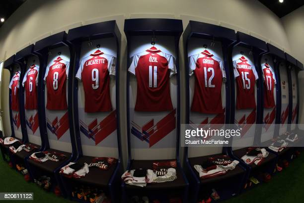 Arsenal shirts hang in the changing room before the pre season friendly between Arsenal and Chelsea at the Birds Nest on July 22 2017 in Beijing