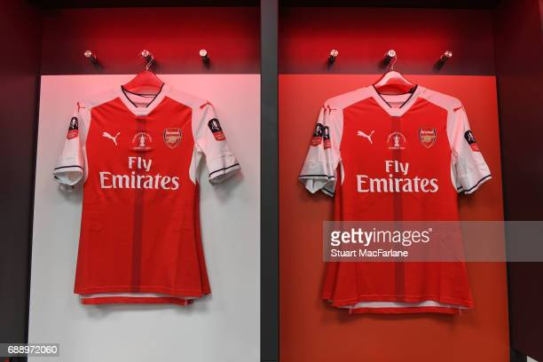 Arsenal shirts in the changing room before the Emirates FA Cup Final between Arsenal and Chelsea at Wembley Stadium on May 27 2017 in London England