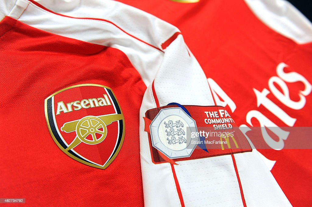 Arsenal shirts in the changing room before the FA Community Shield match between Chelsea and Arsenal at Wembley Stadium on August 2, 2015 in London, England.