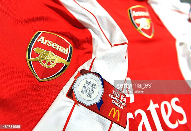 Arsenal shirts in the changing room before the FA Community Shield match between Chelsea and Arsenal at Wembley Stadium on August 2 2015 in London...
