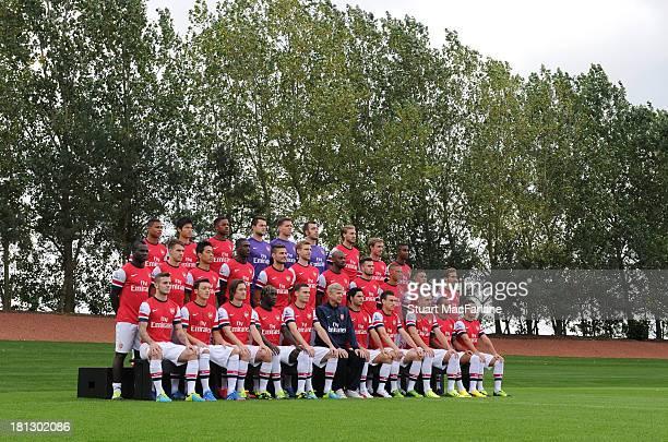 Arsenal Squad 2013/14: Back row : Serge Gnabry, Ryo Miyaichi, Chuba Akpom, Lukasz Fabianski, Wojciech Szczesny, Emiliano Viviano, Nicklas Bendtner,...