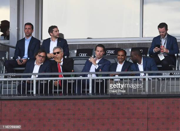 Arsenal staff Edu Raul Sanllehi Stan Kroenke Josh Kroenke and Vinai Venkatesham during the match between Colorado Rapids v Arsenal at Dick's Sporting...