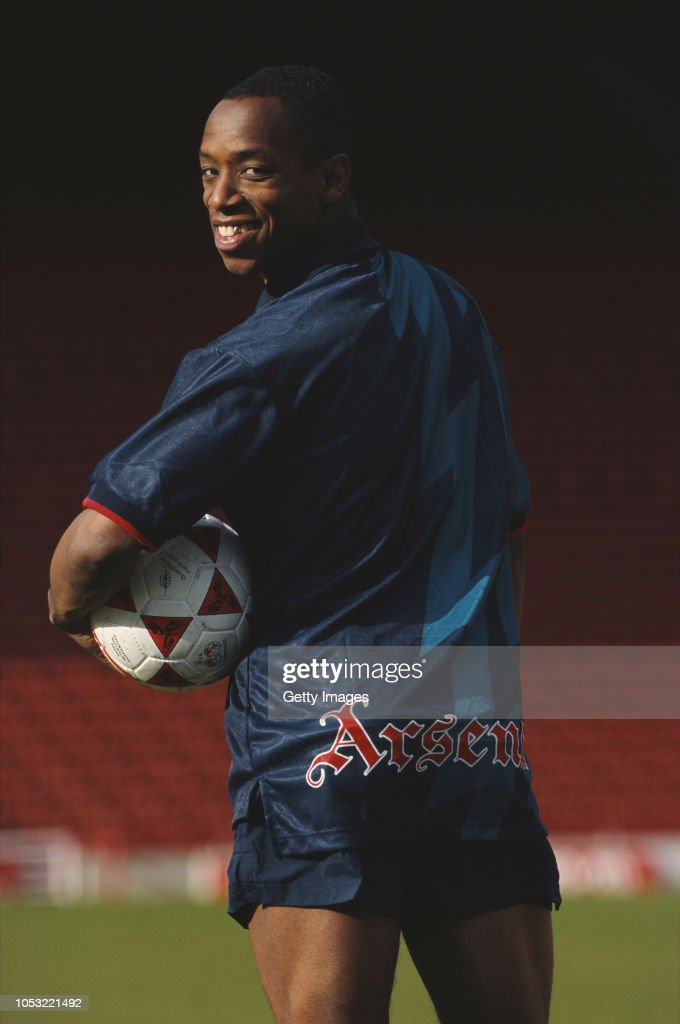finest selection 5d4c0 3338d Arsenal striker Ian Wright pictured modelling the new blue ...