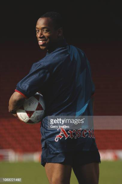 Arsenal striker Ian Wright pictured modelling the new blue Nike Arsenal away kit ahead of the 1995/96 season at Highbury on March 27 1995 in London...