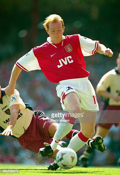 Arsenal striker John Hartson in action during a Premier League match between Arsenal and West Ham United at Highbury on August 17 1996 in London...