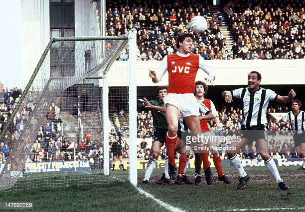 Arsenal striker Paul Vaessen heading the ball during their Division one match against Notts County at Highbury Stadium in London 13th February 1982...