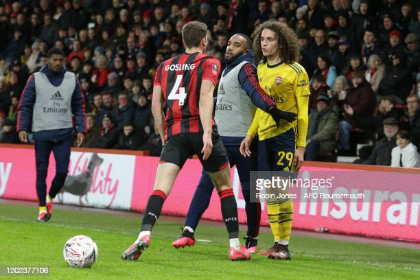 Arsenal sub Alexandre Lacazette gets between Dan Gosling of Bournemouth and Matteo Guendouzi of Arsenal during an altercation in the FA Cup Fourth...