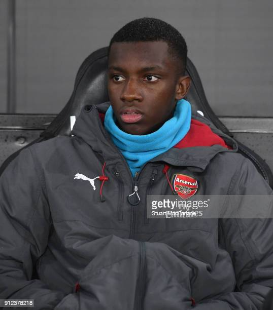 Arsenal substitute Eddie Nketiah on the bench before the Premier League match between Swansea City and Arsenal at Liberty Stadium on January 30 2018...