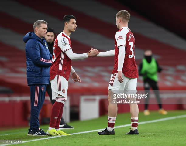 Arsenal substitute Gabriel Martinelli comes on for Emile Smith Rowe during the Premier League match between Arsenal and Newcastle United at Emirates...