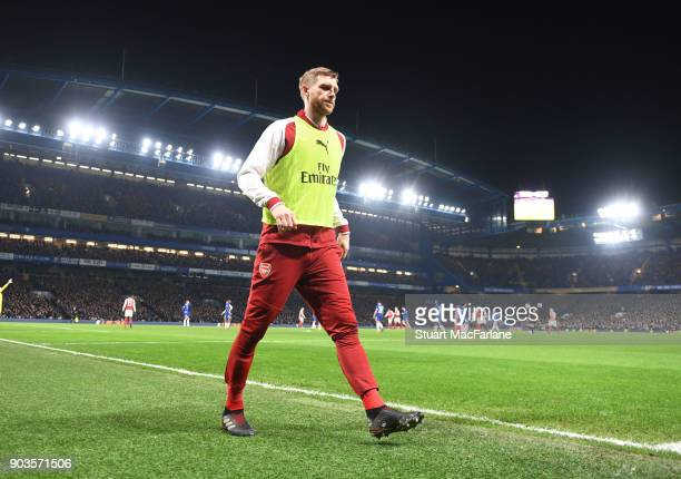 Arsenal substitute Per Mertesacker during the Carabao Cup SemiFinal First Leg match between Chelsea and Arsenal at Stamford Bridge on January 10 2018...