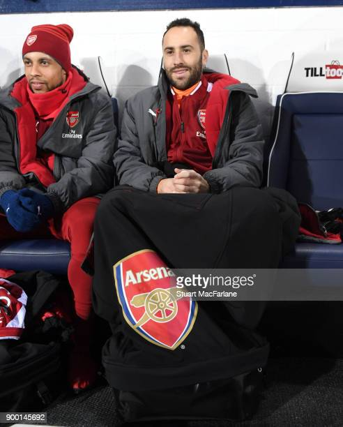 Arsenal substitutes Francis Coquelin and David Ospina before the Premier League match between West Bromwich Albion and Arsenal at The Hawthorns on...