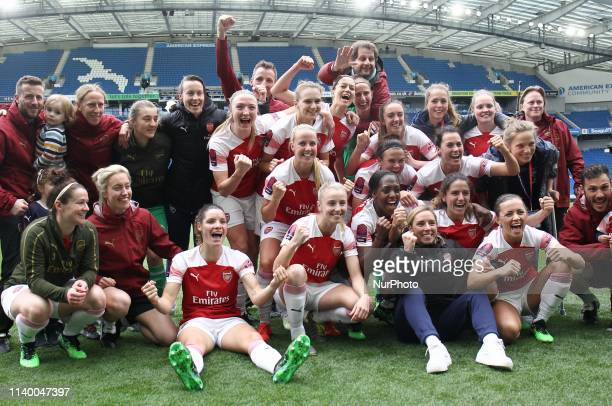 Arsenal Team after winning the League Tittle during Women's Super League match between Brighton and Albion Hove and Arsenal at Amex stadium Brighton...