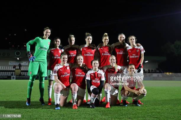 Arsenal team group prior to the FA WSL Continental Tyres Cup semi final between Arsenal Women and Manchester United Women at Meadow Park on February...