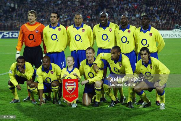 Arsenal team group prior to the UEFA Champions League Group B game between FC Dynamo Kiev and Arsenal on October 21 2003 at the Olympiyskyi Stadium...