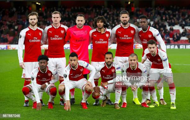 Arsenal team group Top Row Calum Chambers Rob Holding David Ospina Mohamed Elneny Olivier Giroud and Danny Welbeck Bottom Row Ainsley MaitlandNiles...