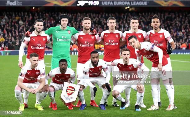 Arsenal Team group Top Row Sead Kolasinac Petr Cech Shkodran Mustafi Laurent Koscielny Granit Xhaka and PierreEmerick Aubameyang Bottom Row Aaron...