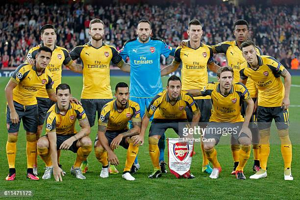 Arsenal team line up during the Champions League match between Arsenal and FC Basel at The Emirates Stadium on September 28 2016 in London United...