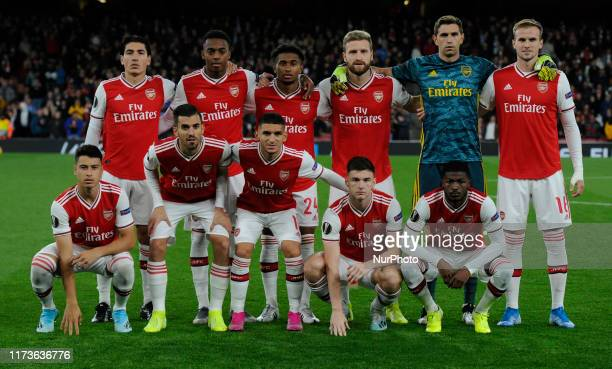 Hector Bellerin Joe Willock Reiss Nelson Shkodran Mustafi Emiliano Martnez and Rob Holding of Arsenal Front Row Gabriel Martinelli Dani Ceballos...