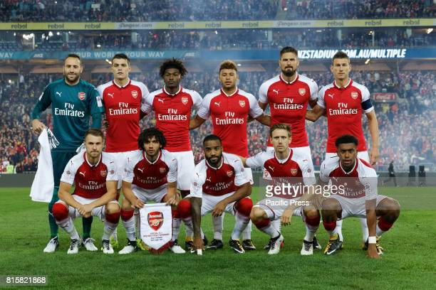 Arsenal team photo before the start of the game Back row David Ospina Granit Xhaka Ainsley MaitlandNiles Alex oxladeChamberlain Olivier Giroud...