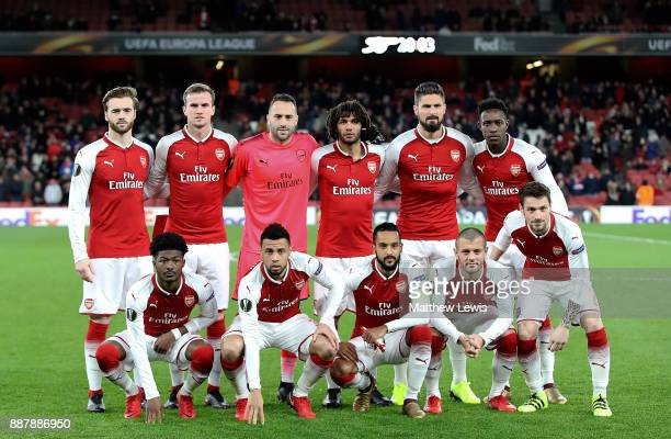 Arsenal team pose for a picture ahead of the UEFA Europa League group H match between Arsenal FC and BATE Borisov at Emirates Stadium on December 7...