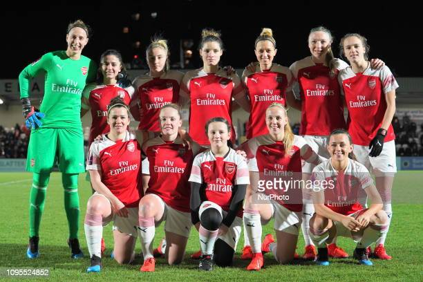 Arsenal Team shoot during FA Continental Tyres Cup SemiFinal match between Arsenal and Manchester United Women FC at Boredom Wood on 7 February 2019...