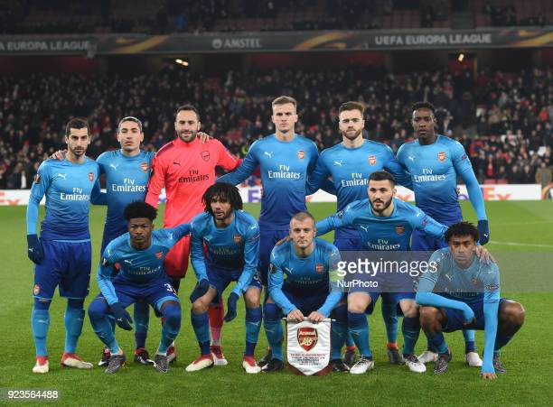 Arsenal Team shoot during UEFA Europa League Round 32 2nd Leg match between Arsenal and Ostersunds FK at The Emirates London 22 Feb 2018