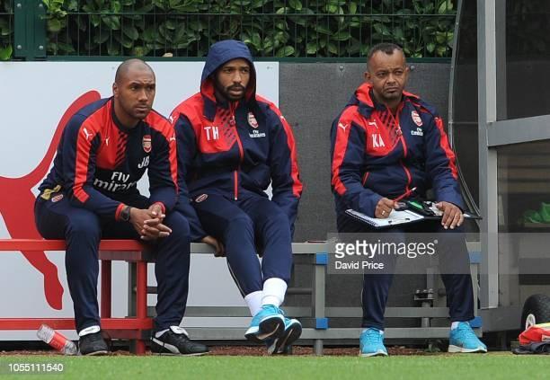 Arsenal Thierry Henry on the bench with U18 coaches Jason Roberts and Kwame Ampadu Arsenal U18 10 West Ham United U18 Barclays Premier U18 League...