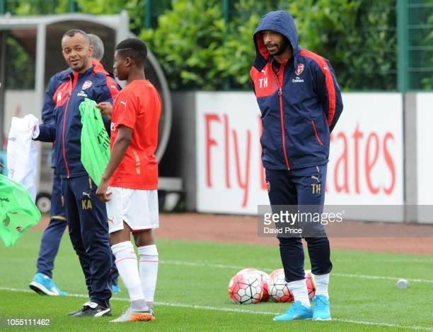 Arsenal Thierry Henry with U18 coach Kwame Ampadu Arsenal U18 10 West Ham United U18 Barclays Premier U18 League Arsenal Training Ground London...
