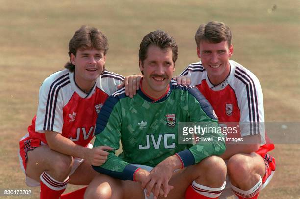 Arsenal three new summer signings warming up for the new season t the lub's training ground Anders Limpar David Seaman and Andy Linighan