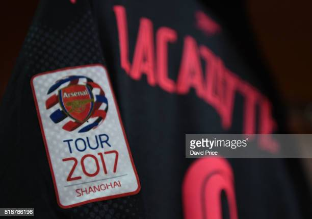 Arsenal tour logo on the shirt in the changingroom before the match between Bayern Munich and Arsenal at Shanghai Stadium on July 19 2017 in Shanghai...