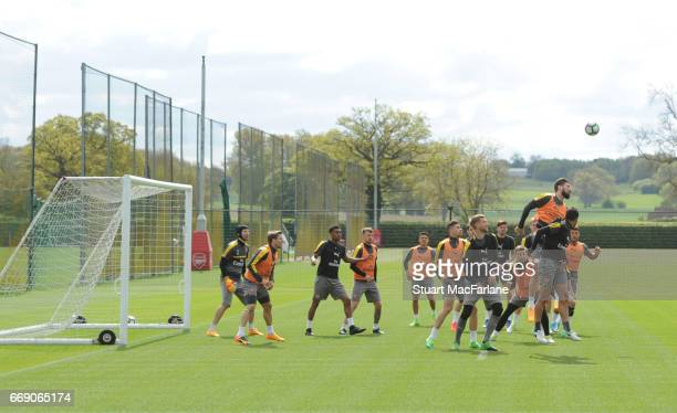 Arsenal training session at London Colney on April 16 2017 in St Albans England