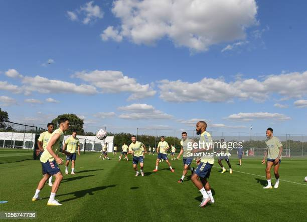 Arsenal training session at London Colney on July 17, 2020 in St Albans, England.