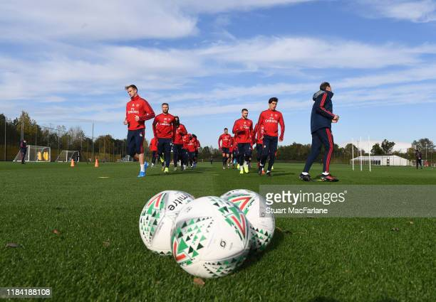 Arsenal training session at London Colney on October 29, 2019 in St Albans, England.