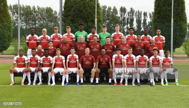 Arsenal U18 Squad Back row Flo Balogun Matthew Smith Zak Swanson Harrison Clarke Arthur Okonkwo Bayli SpencerAdams Thomas Smith Mark McGuinness...