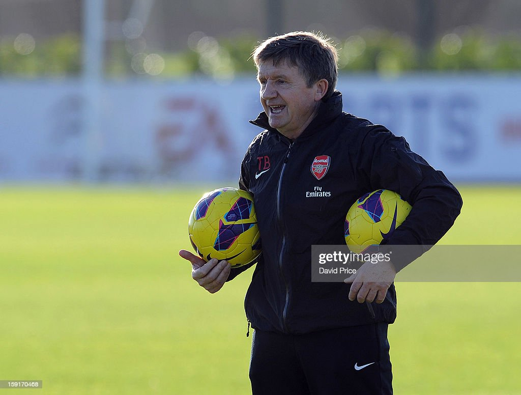 Arsenal U21 coach Terry Burton looks on before the Barclays Premier U21 match between Arsenal U21 and West Bromwich Albion U21 at London Colney on January 9, 2013 in St Albans, United Kingdom.