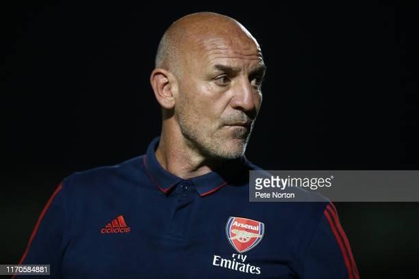 Arsenal U21 manager Steve Bould looks on during the Leasingcom Trophy match between Northampton Town and Arsenal U21 at PTS Academy Stadium on August...
