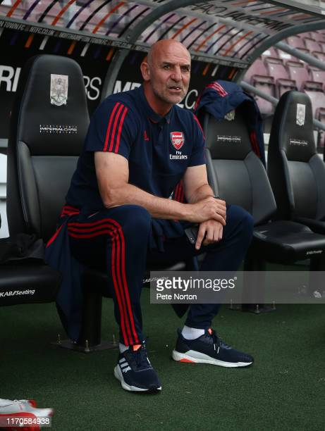 Arsenal U21 manager Steve Bould looks on prior to the Leasingcom Trophy match between Northampton Town and Arsenal U21 at PTS Academy Stadium on...