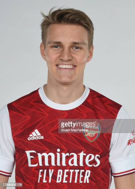Arsenal unveil new loan signing Martin Odegaard at London Colney on January 27, 2021 in St Albans, England.