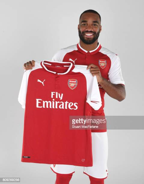 Arsenal unveil new signing Alexandre Lacazette at London Colney on July 4 2017 in St Albans England