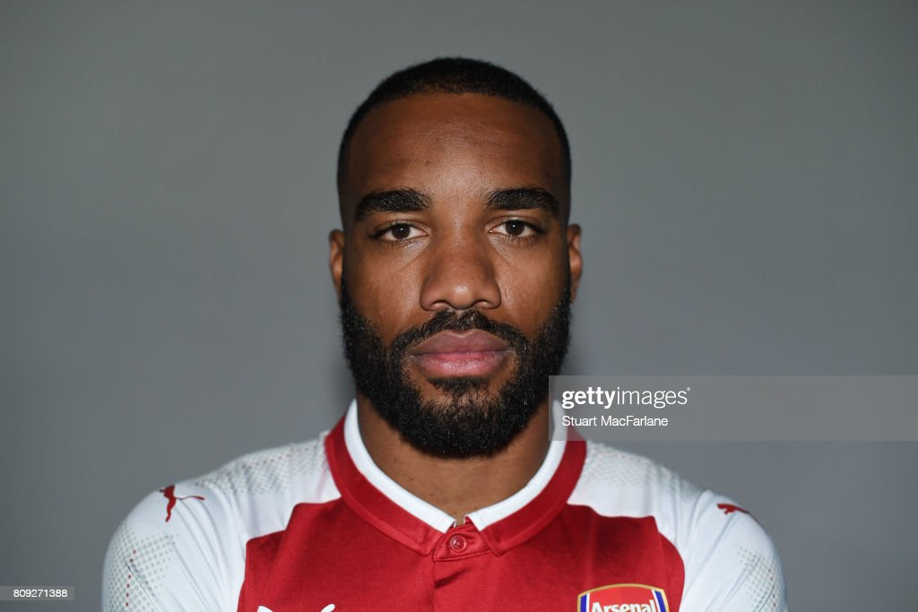 Arsenal unveil new signing Alexandre Lacazette at London Colney on July 4, 2017 in St Albans, England.