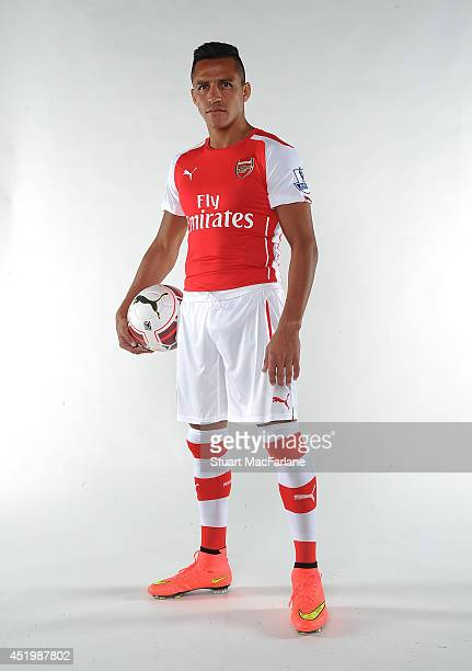 Arsenal unveil new signing Alexis Sanchez at The Arsenal training ground, St Albans on July 10, 2014 in London, England.