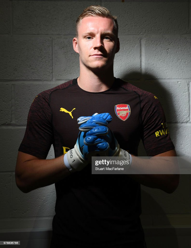 Arsenal unveil new signing Bernd Leno at London Colney on June 19, 2018 in St Albans, England.