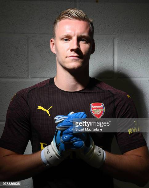 Arsenal unveil new signing Bernd Leno at London Colney on June 19 2018 in St Albans England