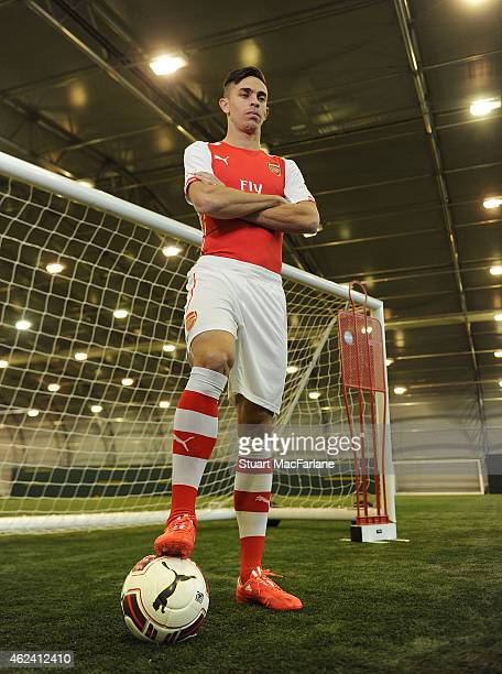 Arsenal unveil new signing Gabriel at London Colney on January 26, 2015 in St Albans, England.
