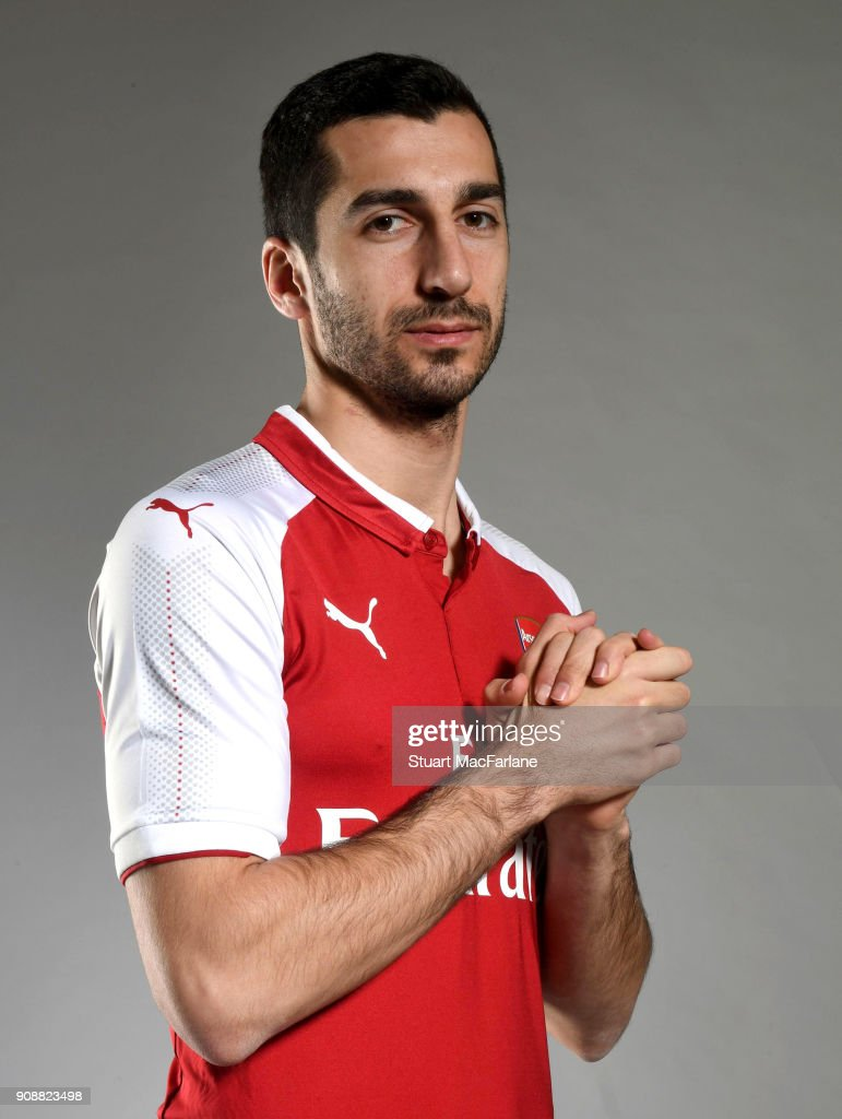 Arsenal Unveil New Signing Henrikh Mkhitaryan at London Colney on January 22, 2018 in St Albans, England.