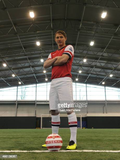 Arsenal unveil new signing Kim Kallstrom at London Colney on January 31 2014 in St Albans England